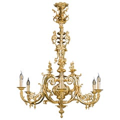 Large Louis XVI Style French 19th Century Gilt Chandelier