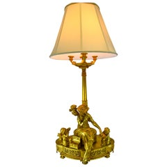 Large Louis XVI Style Gilt Bronze Figural Lamp