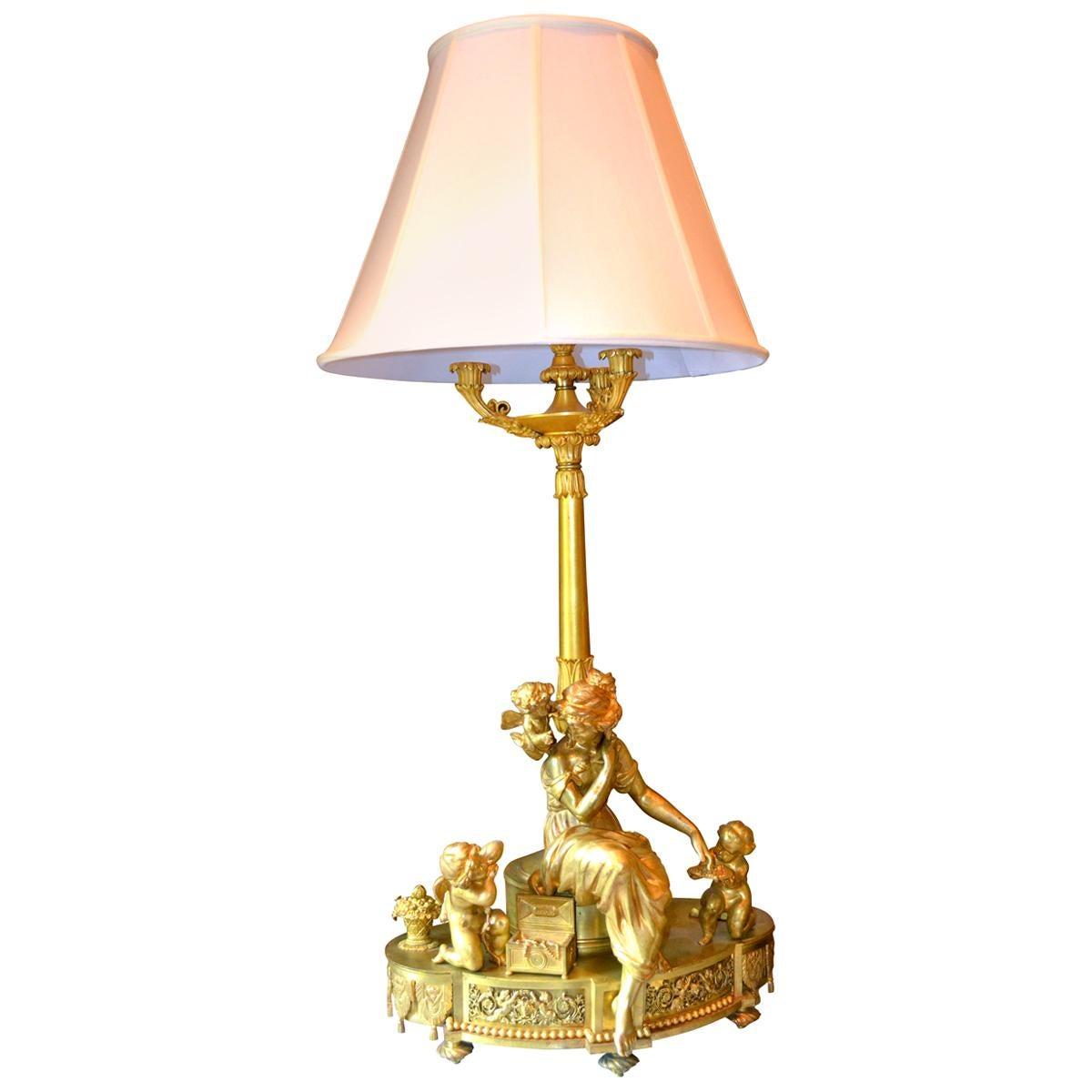 Large Louis XVI Style Gilt Bronze Figural Lamp