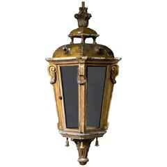 Large Louis XVI Style Giltwood and Gesso Hall Lantern