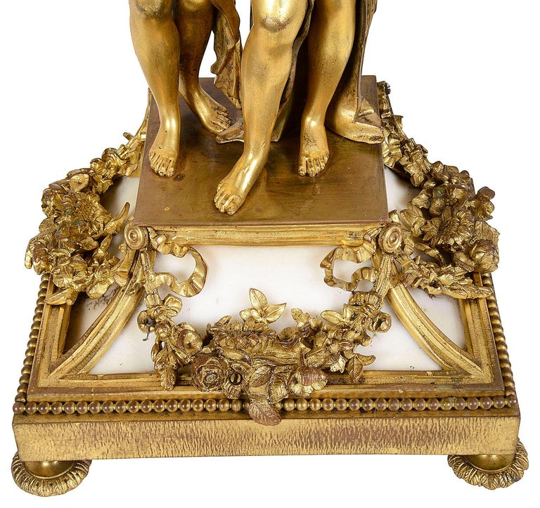 Large Louis XVI Style Ormolu and Marble Clock Set For Sale 4