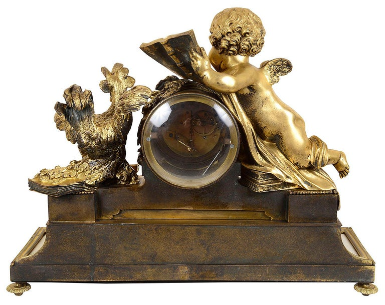 Large Louis XVI Style Ormolu and Marble Clock Set For Sale 7