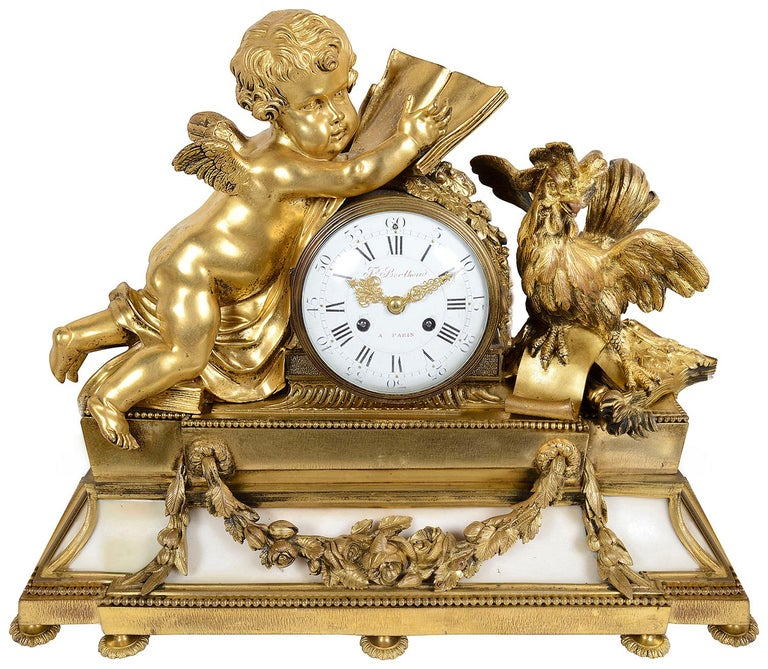 A very impressive and good quality 19th century gilded ormolu Louis XVI style clock garniture. The pair of five branch candelabra supported by a pair of classical semi clad females, raised on white marble bases with garlands of flowers. The clock