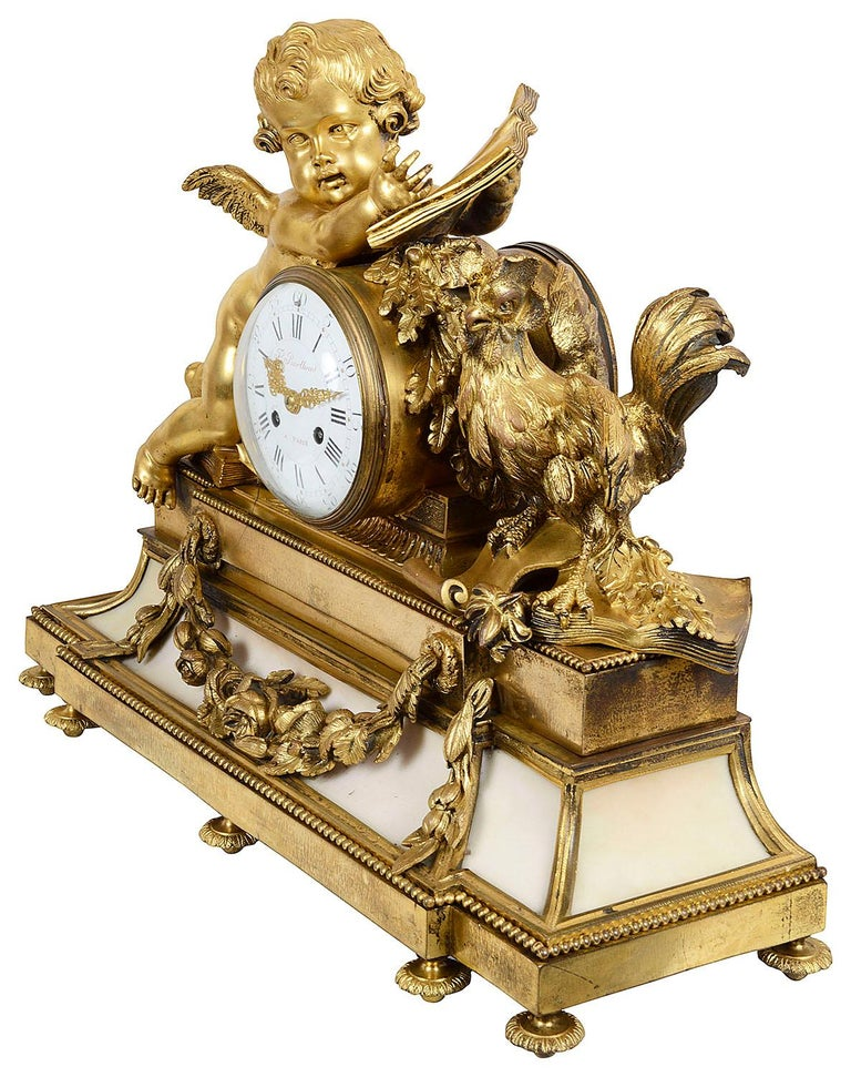French Large Louis XVI Style Ormolu and Marble Clock Set For Sale