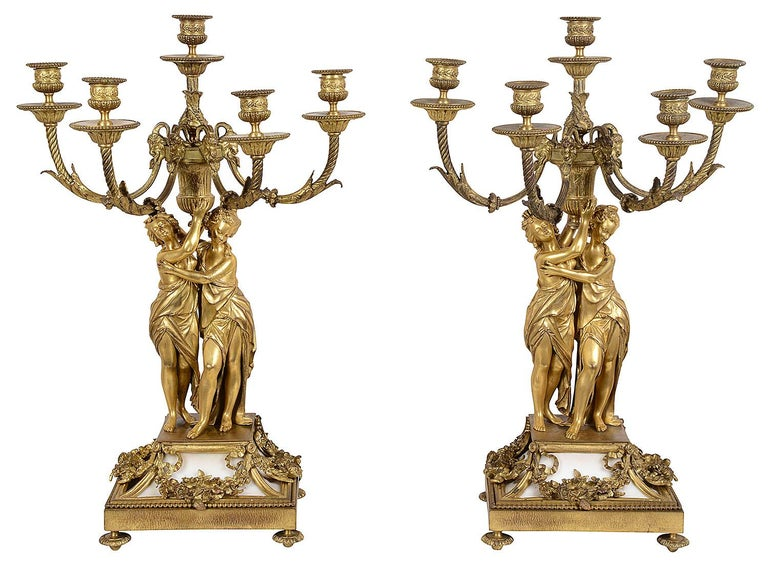 Gilt Large Louis XVI Style Ormolu and Marble Clock Set For Sale