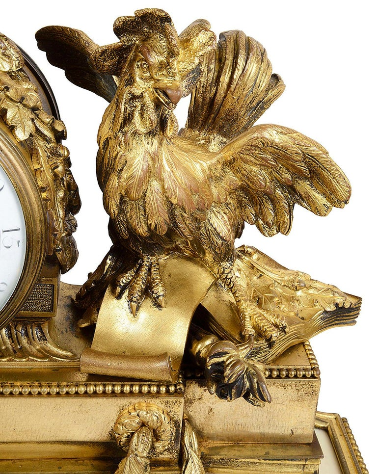 19th Century Large Louis XVI Style Ormolu and Marble Clock Set For Sale
