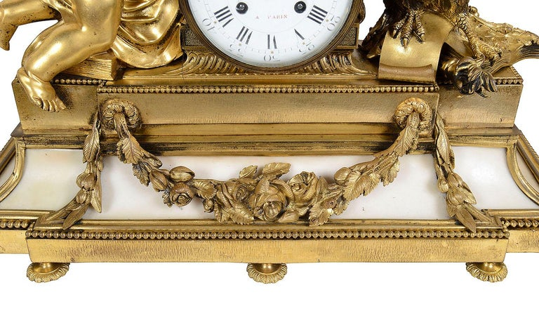 Large Louis XVI Style Ormolu and Marble Clock Set For Sale 1