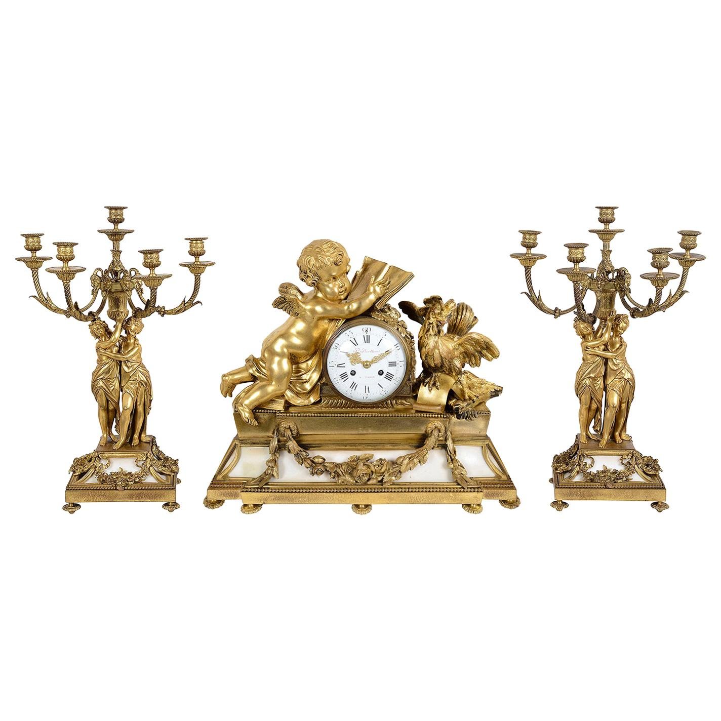Large Louis XVI Style Ormolu and Marble Clock Set