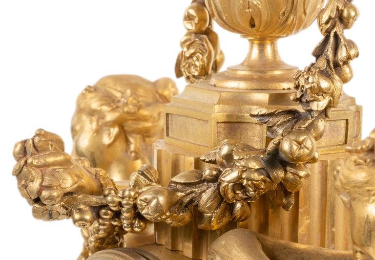 Large Louis XVI Style Ormolu Mantel Clock, 19th Century For Sale 9