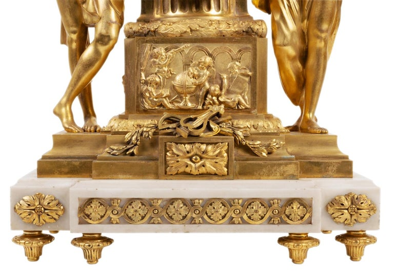 French Large Louis XVI Style Ormolu Mantel Clock, 19th Century For Sale