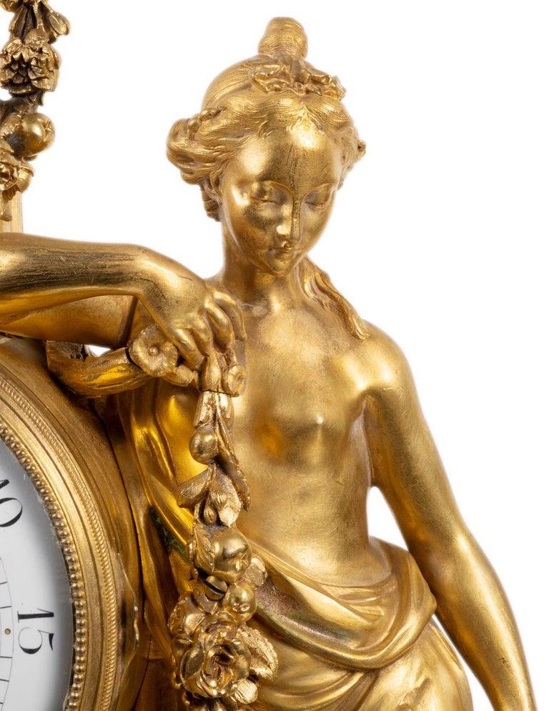 Large Louis XVI Style Ormolu Mantel Clock, 19th Century For Sale 2