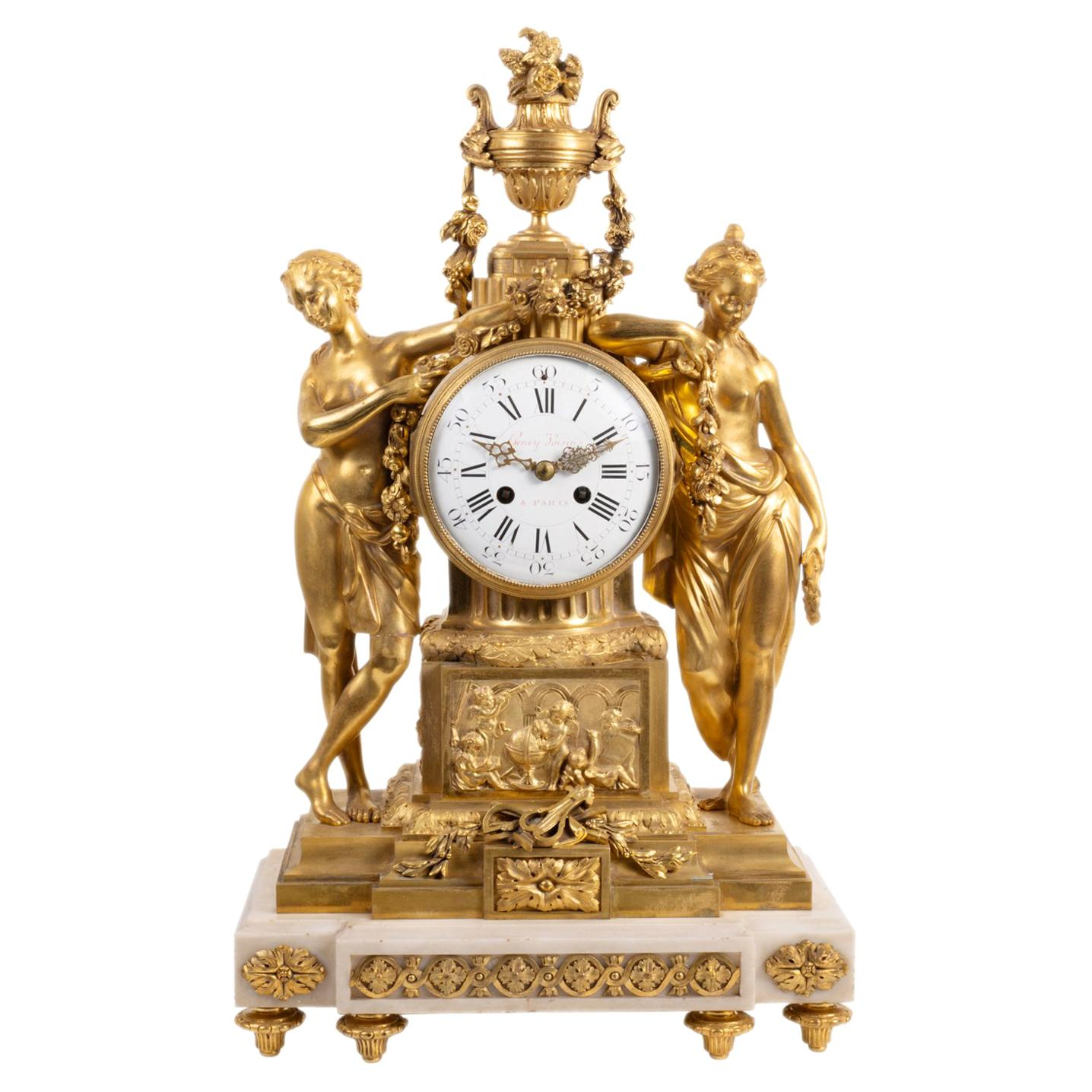 Large Louis XVI Style Ormolu Mantel Clock, 19th Century