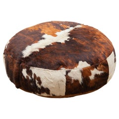 Large Lounge Ottoman Pouf in Cow Leather
