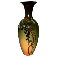Large Louwelsa Weller Standard Glaze Art Pottery Grape & Vine Floor Vase