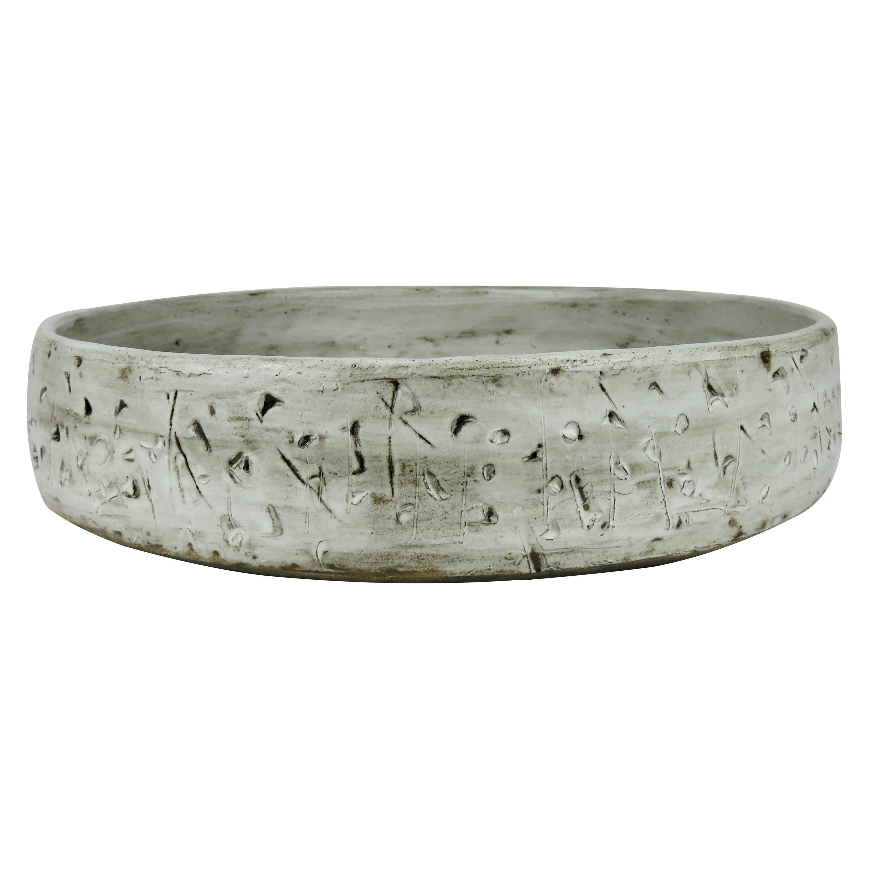 Large Low Serving Bowl, Carved Exterior In Off-White Glaze, Hand Built Ceramic