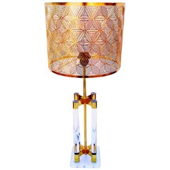 Large Lucite and Brass Table Lamp, Italy, 1970s