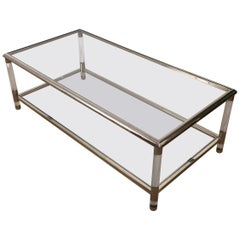 Large Lucite and Chrome 2 Tiers Coffee Table, French, circa 1970