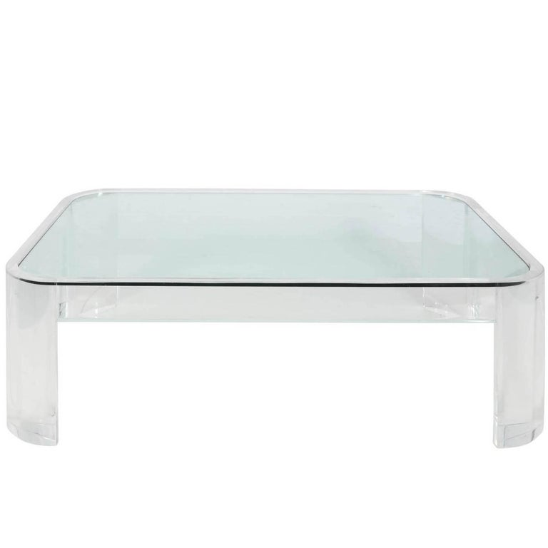Large Lucite And Glass Coffee Table Circa 1960 At 1stdibs