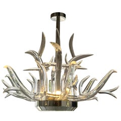Large Lucite and Stainless Steel Antler Chandelier