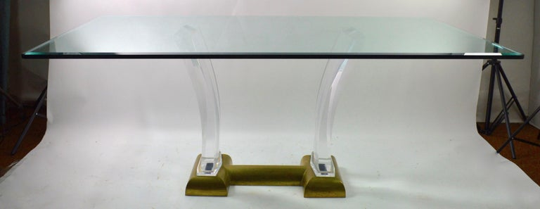 American Large Lucite Brass and Glass Dining Table by Jeffrey Bigelow For Sale