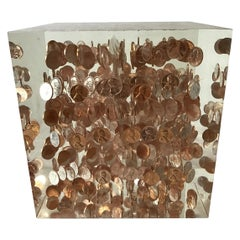 Large Lucite Cube of 1968 Pennies