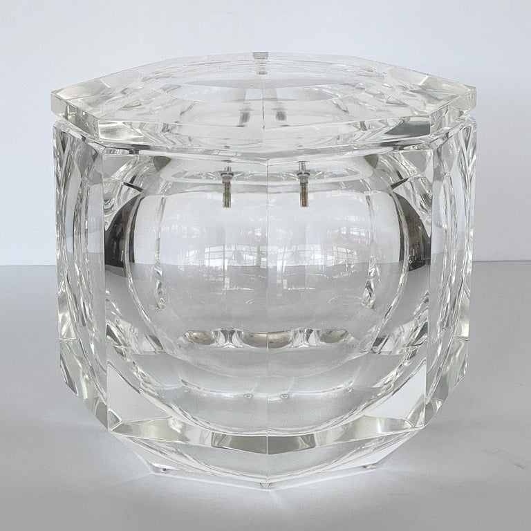 Italian Large Lucite Ice Bucket by Alessando Albrizzi For Sale