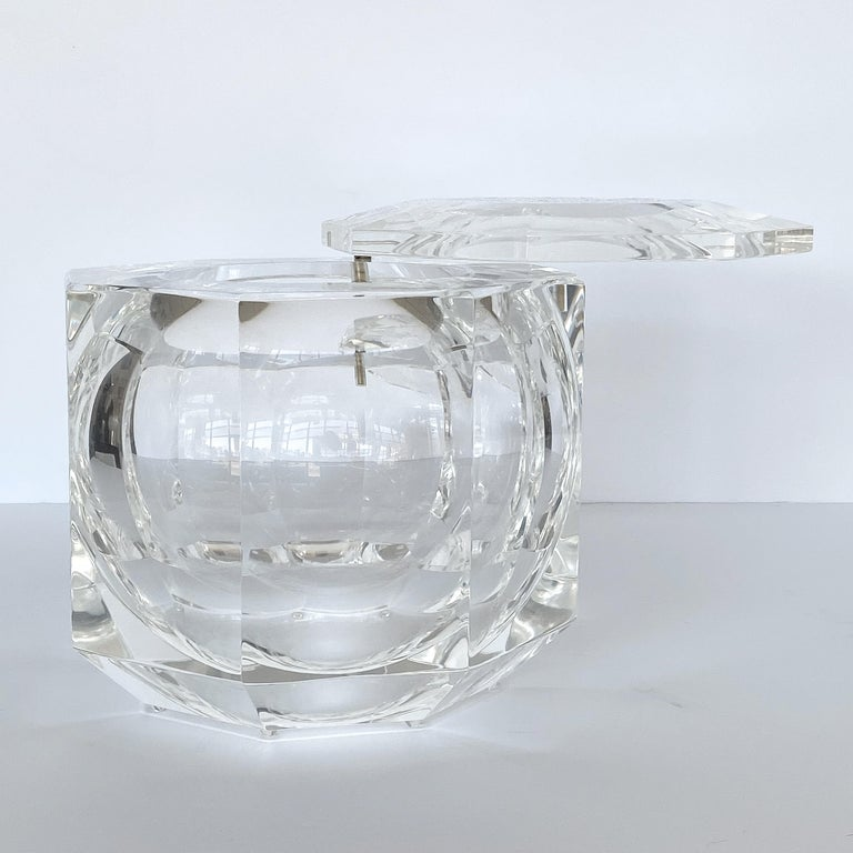 Brass Large Lucite Ice Bucket by Alessando Albrizzi For Sale