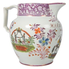 Large Lustre Ware Pitcher Dated 1824 for the Orange Order of Northern Ireland