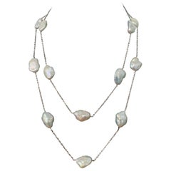 Large lustrous Keishi Pearl Station Necklace 50""