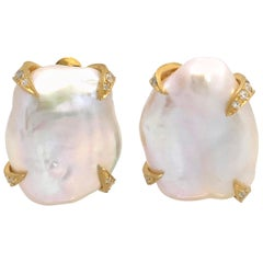 Large Lustrous Pair of 18mm White Baroque Pearl Earrings
