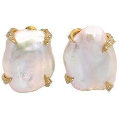 Large Lustrous Pair of 18mm White Keishi Pearl Earrings