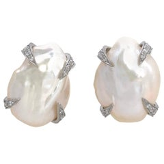 Large Lustrous Pair of 18mm White Keishi Pearl Earrings