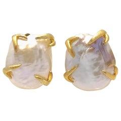 Large Lustrous Pair of 20mm White Keishi Pearl Earrings