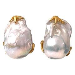Large Lustrous pair of Freshwater Baroque Pearl Earrings