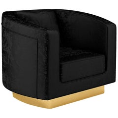 "Large Luxury ""Carole"" Contemporary Modern Velvet Upholstered Club Chair Armchair"