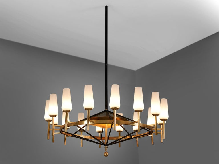 Mid-Century Modern Large Luxus Chandelier by Uno and Östen Kristiansson For Sale