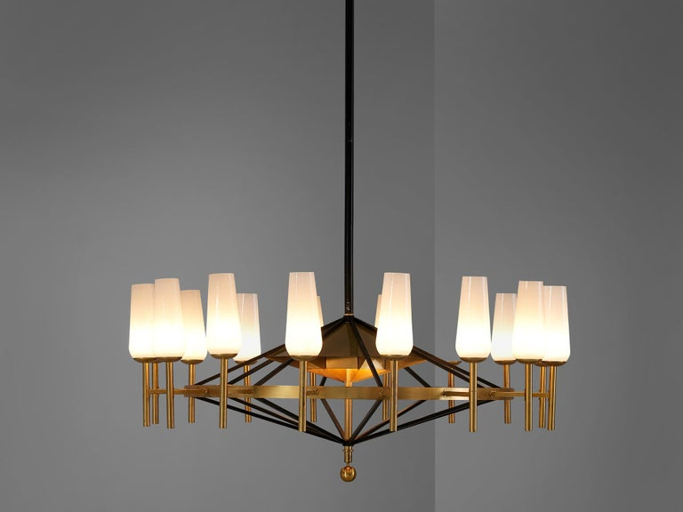 Swedish Large Luxus Chandelier by Uno and Östen Kristiansson For Sale