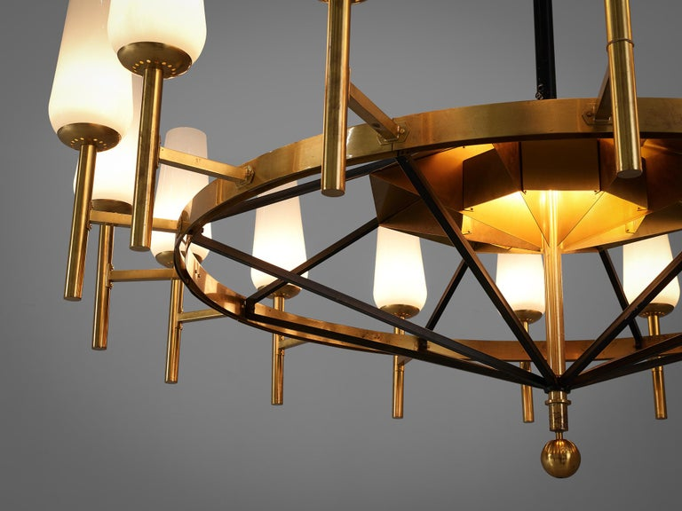 Mid-20th Century Large Luxus Chandelier by Uno and Östen Kristiansson For Sale