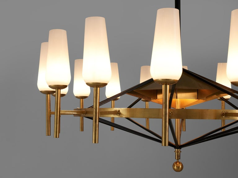 Opaline Glass Large Luxus Chandelier by Uno and Östen Kristiansson For Sale