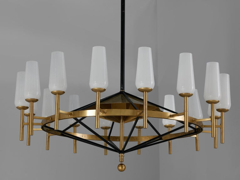 Large Luxus Chandelier by Uno and Östen Kristiansson For Sale 1