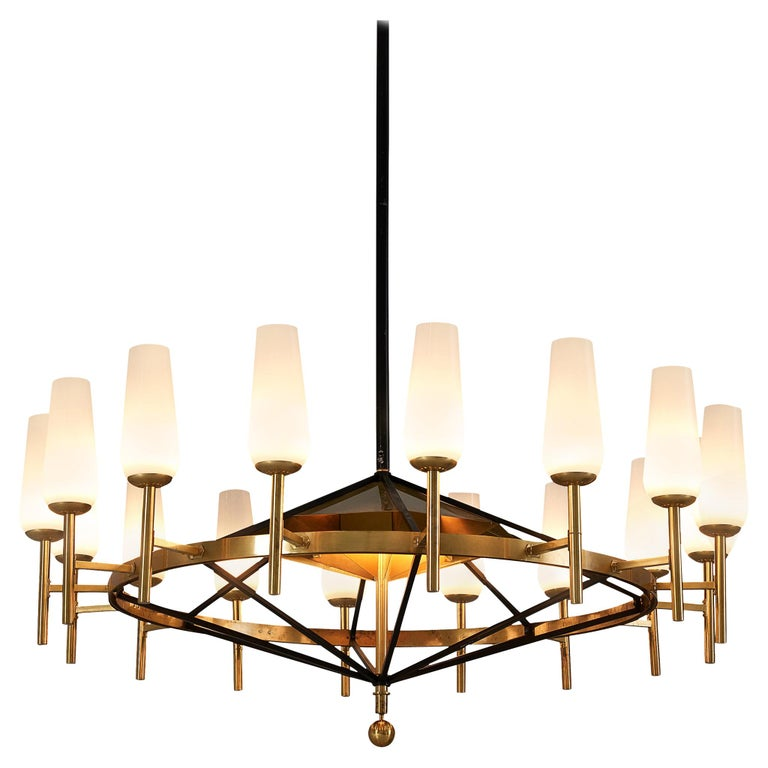 Large Luxus Chandelier by Uno and Östen Kristiansson For Sale