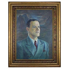 Large Mad Men Style Framed Portrait Painting of a Man on Canvas, Signed, 1960s