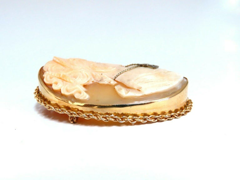 Women's or Men's Large Madonna Cameo Brooch Retractable Bale Pendant Brooch Pin 14 Karat For Sale