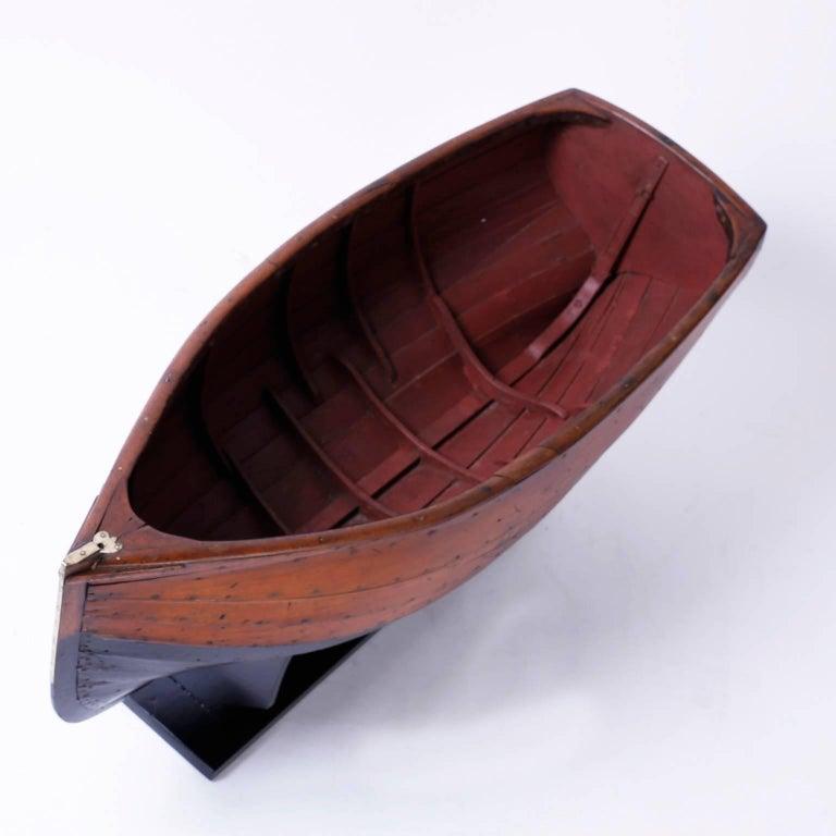 Folk Art Large Mahogany Antique Boat Model For Sale