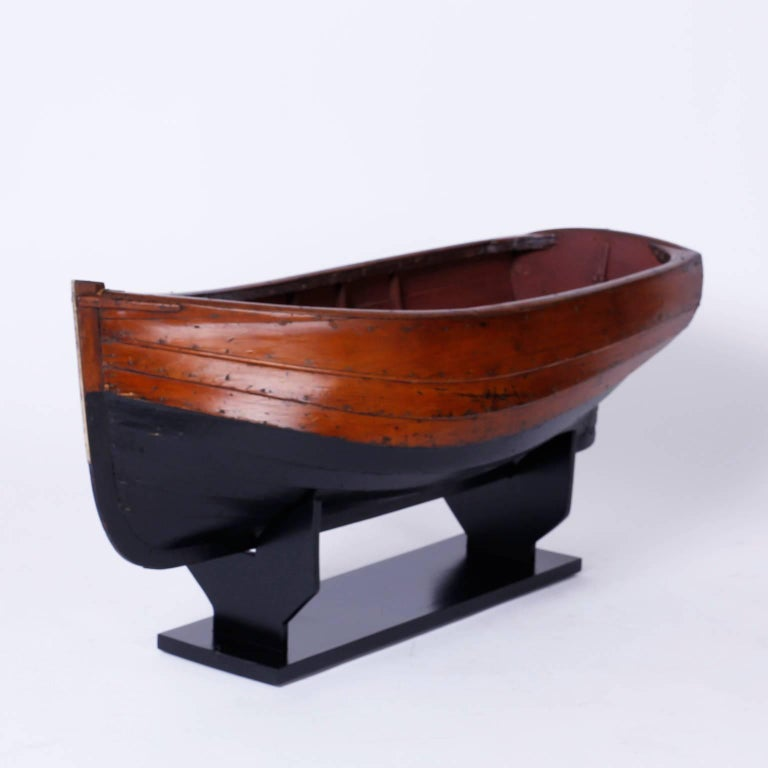 Large Mahogany Antique Boat Model In Excellent Condition For Sale In Palm Beach, FL