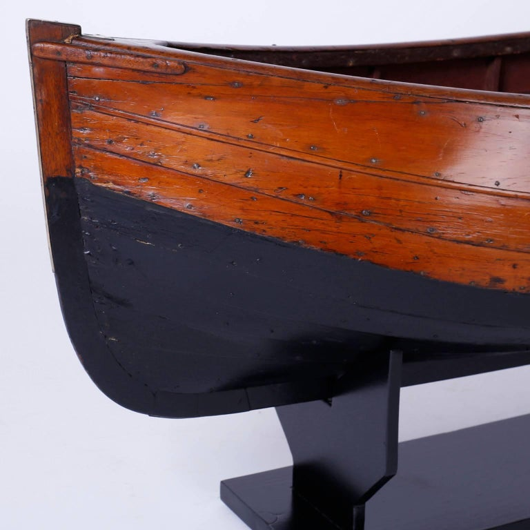Large Mahogany Antique Boat Model For Sale 3