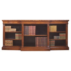 Large Mahogany Breakfront Open Bookcases