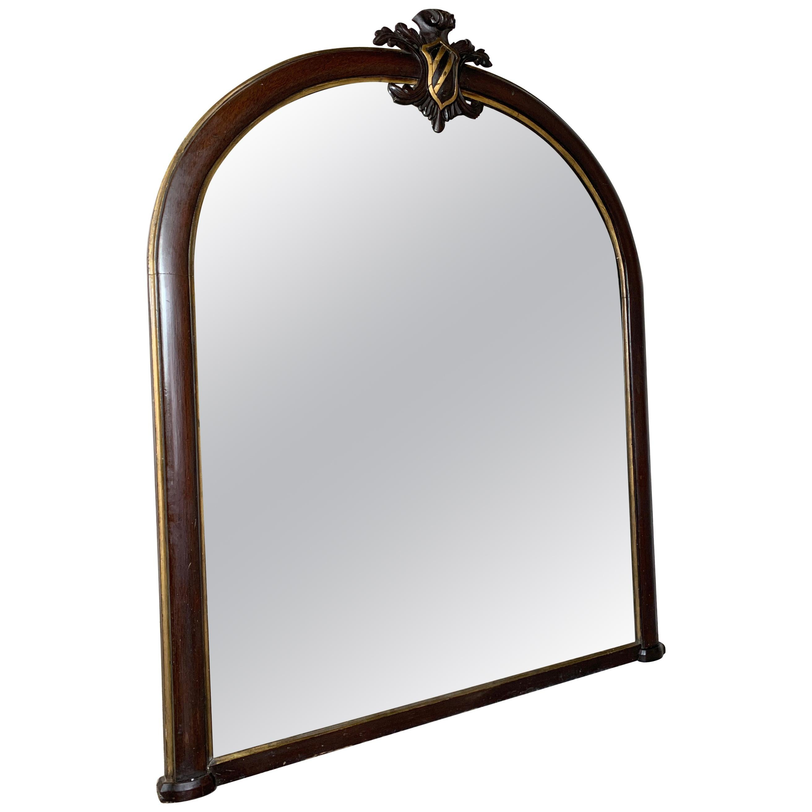 Large Mahogany, Crested Overmantle Mirror
