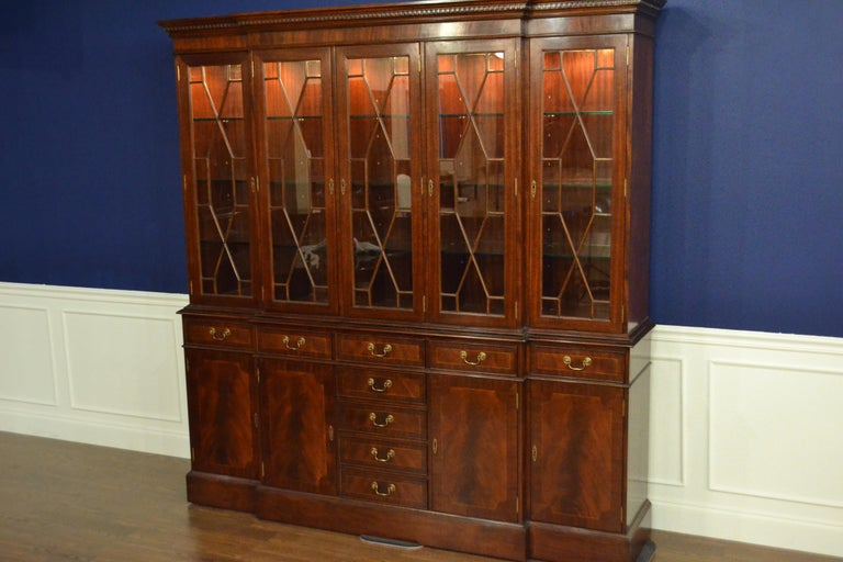 Large Mahogany Georgian Style Five Door Bookcase China Cabinet by Leighton Hall In New Condition For Sale In Suwanee, GA