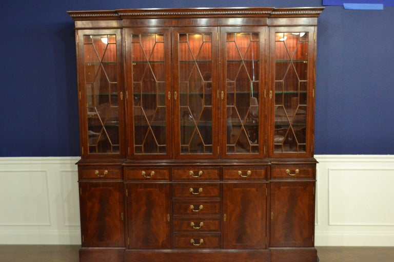Contemporary Large Mahogany Georgian Style Five Door Bookcase China Cabinet by Leighton Hall For Sale